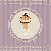 Vintage card--invitation--with cupcake on a purple background — Stock Vector