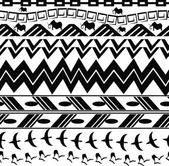 Monochrome seamless texture in tribal style — Stock Vector