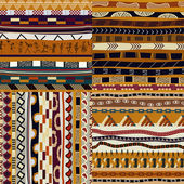 Set of African seamless patterns — Stock Vector