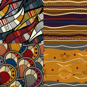 Set of African seamless patterns — Stok Vektör