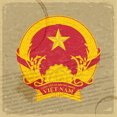 Vietnamese coat of arms on an old sheet of paper — Stock Vector