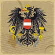 Austria coat of arms on an old sheet of paper — Stock Vector