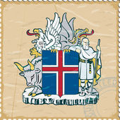 Coat of arms of Iceland on the old postage stamp — Stock Vector