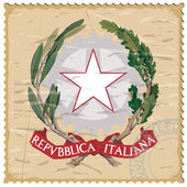 Coat of arms of Italy on the old postage stamp — Stock Vector