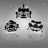 Set of African masks — Stock Vector