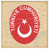 Coat of arms of Turkey on the old postage stamp — Stock Vector