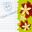 Sheet of school notebook with flowers and — Stock Vector
