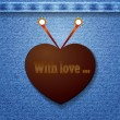 Abstract denim background with heart — 图库矢量图片