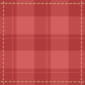 Red checkered background with stitches — Stock Vector