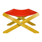 Folding wooden chair with red seat — Stock Vector