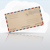Old airmail envelope with cloud and reflection — Vecteur