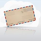 老航空信封与云和反射 — 图库矢量图片