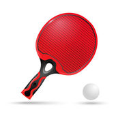 Red racket for ping-pong and the ball — Wektor stockowy