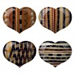 Set of glass hearts with African texture inside — Imagen vectorial