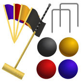 Set of objects for a game of croquet — Stock Vector