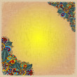 Floral decorative background on old sheet of paper — Imagen vectorial