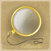 Antique gold monocle on a grunge background — Stock Vector