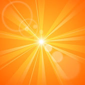 Abstract orange background with sun rays — Stock Vector