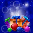Christmas gifts and Christmas balls on a blue background — Imagen vectorial