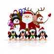 Santa Claus, penguins, reindeer and snowman on the ice - greetin — Stock Vector