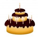 Celebratory chocolate cake with burning candles — Stockvector