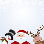Santa Claus, snowman and reindeer on a snowy background — Stock Vector