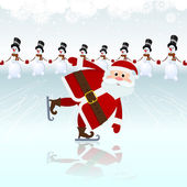 Santa Claus, ice skating — Stockvektor