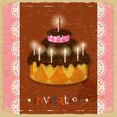 Birthday cake with candles on a retro background — Stock Vector