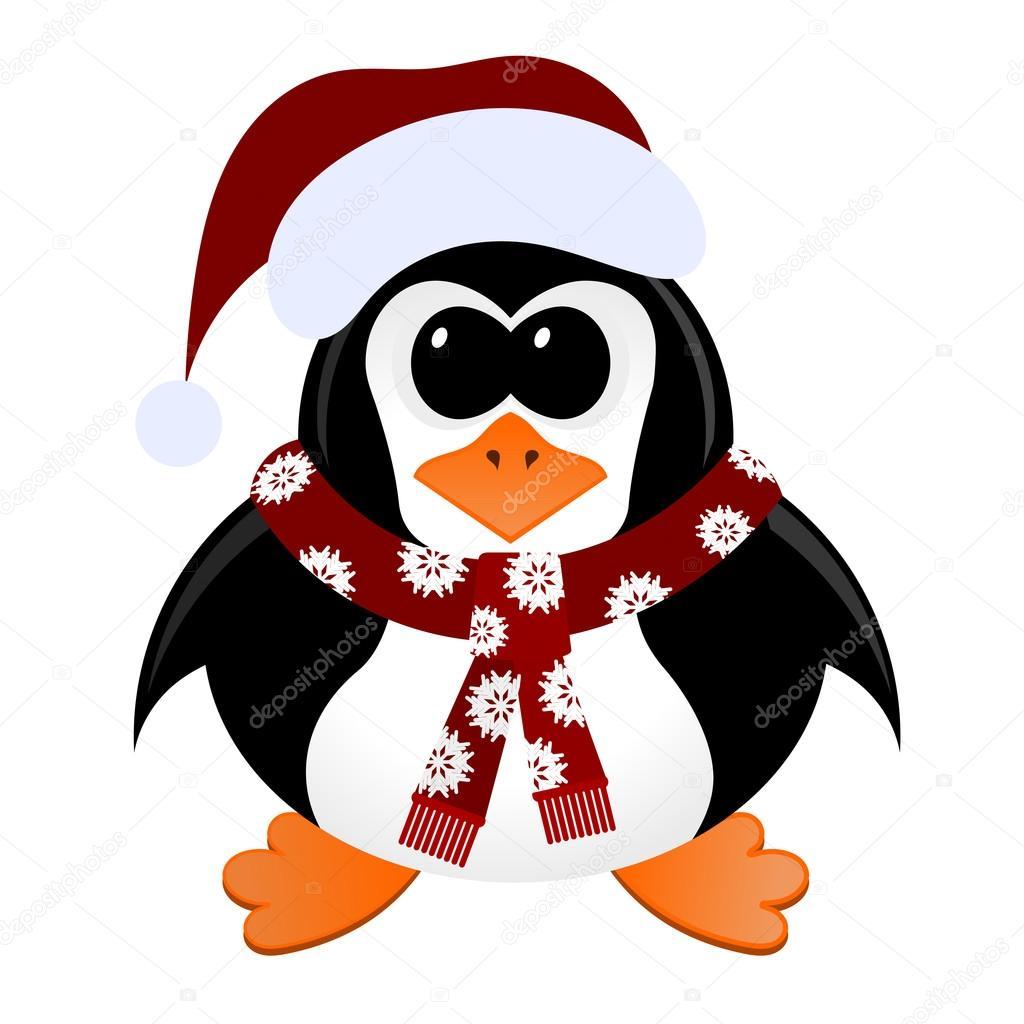 Pingouin dessin anim avec no l bonnet et charpe image - Dessin de bonnet ...