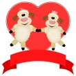Two sheep on a background of red hearts - compliments of Happy V — Stock Vector