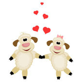 Two cute lamb lovers on a white background — Stock Vector