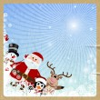 Santa Claus, reindeer, snowman, penguin on retro background — Stock Vector #36568669