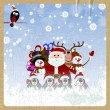 Greeting Christmas card with Santa Claus, reindeer, snowman, pen — Stock Vector