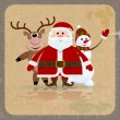 Santa Claus, snowman and reindeer on a retro background — Stock Vector