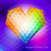 Polygonal heart on triangular background — Vector de stock