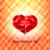 Polygonal red heart on triangular background — Vector de stock