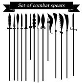 Set of silhouettes combat copies — Stock Photo