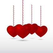 Red volumetric hearts vector — Stock Photo