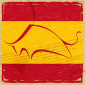 Grunge Spanish flag with the silhouette of a bull — Foto de Stock