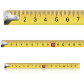 Set of measuring tapes on white background — Stock Vector