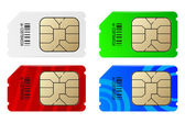 Set of color SIM cards — Stock Vector
