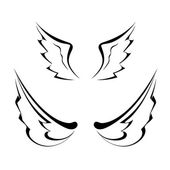 Black tattoo wings isolated on white background — ストックベクタ