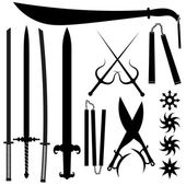 Set of silhouettes bladed weapons — Stock Vector