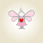 Little fairy with heart in hands — Stockvector