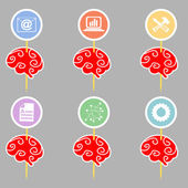 Set of abstract brains with symbols  infographics. Vector illust — Stock Vector