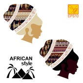 Silhouettes of the head of an  black African girls — Stock Vector