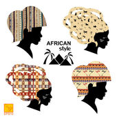 Set of silhouettes of heads of African women — Stock Vector