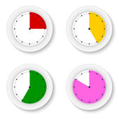 Set clocks isolates with bright sectors — Stock Vector