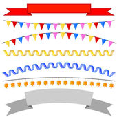 Set isolates flags, tape headers, garland. Vector illustration — Stock Vector