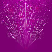 Purple abstract background with fireworks. Vector illustration. — Stock Vector